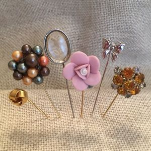 Mixed Collection 6 Stick Pins Silver & Goldtone